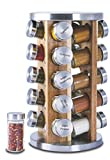 Orii 20 Jar Spice Organizer Rack in Natural Acacia Wood Filled with Spices - Rotating Standing Rack & Countertop Spice Rack Tower Organizer for Kitchen Spices, Free Spice Refills for 5 Years