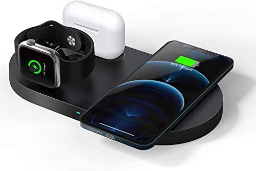 Cargador inalámbrico rápido de 23 W, estación de carga inductiva 3 en 1 con certificado Qi, para Apple Watch SE/6/5/4/3/2, AirPods Pro, iPhone 12/12 Pro Max/11/11pro/SE 2020/XS/XR/8 (sin adaptador)
