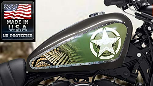 East Coast Vinyl Werkz 3 pc Army Shield/Panel Set Fuel Tank Decals for Harley Davidson Sportster