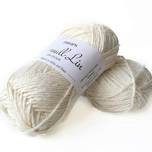 Cotton and Linen Yarn, 4 or Medium, Aran Weight, Drops Bomull-Lin, 1.8 oz 93 Yards per Ball (02 Off White)