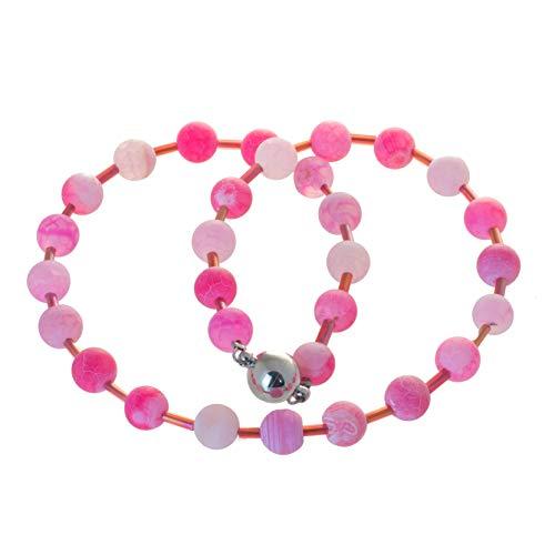 Bella Carina Kinder Kette mit rosa und pink farbenen Achat Steinen (38)