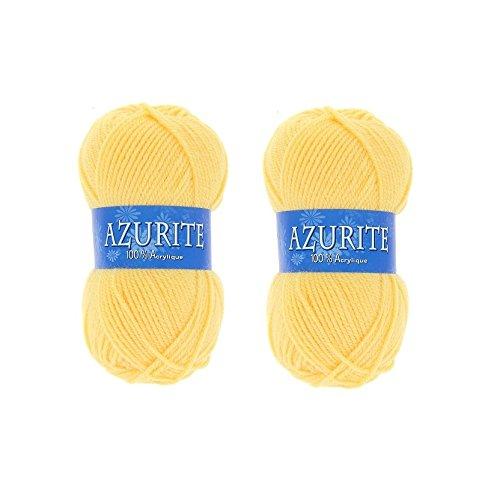 les colis noirs lcn Lot 2 Pelotes de Laine Azurite 100% Acrylique Tricot Crochet Tricoter - Jaune - 030