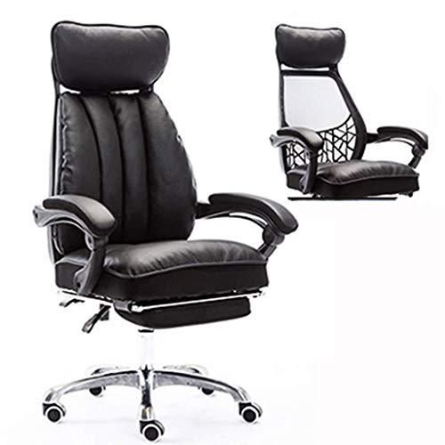 N&O Renovation House Chairs Bequemer Computerstuhl Aluminiumlegierung Fuß+Brauner Lederstuhl mit hoher Rückenlehne Großer Sitz und Kippfunktion Schwarz S