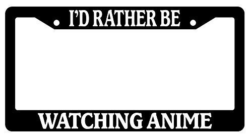 Dark Branches Car License Plate Cover,I'd Rather Be, Watching Anime Black License Plate Frame, Auto Car Accessories, 12x6 inches