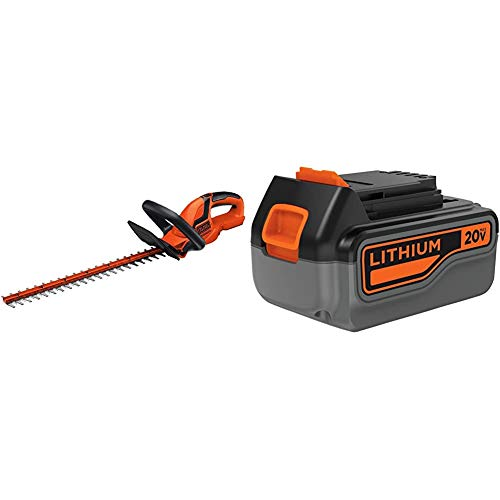 BLACK+DECKER 20V MAX Cordless Hedge Trimmer, 22-Inch, Tool Only with 4-Ah Lithium Ion Battery Pack (LHT2220B & LB2X4020)