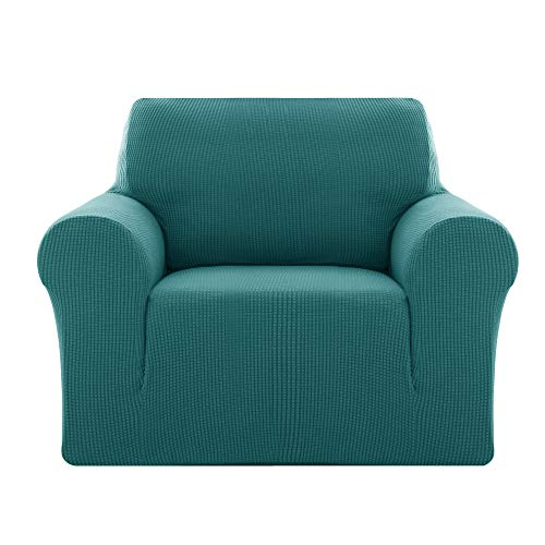 Deconovo Sofabezug Sofa Überzug Sofaüberwurf Sofa Cover Sesselbezug Sofahusse Sofa Abdeckung Super Elastisch Stretch Jacquard 80-120 cm Türkis 1-Sitzer