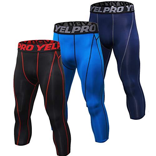 Shengwan 3 Pezzi Pantaloni da Corsa Uomo Sportivi Leggings a Compressione 3/4 Allenamento Palestra Tights Linea Rossa + Blu + Navy L