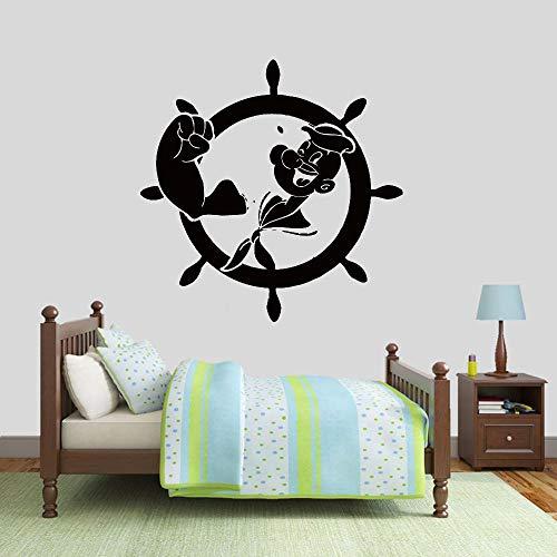 ASFGA Sailor Popeye Wandtattoo Marine Helm Cartoon Kindheit Vinyl Fenster Aufkleber Kinder Schlafzimmer Badezimmer Kinderzimmer Dekoration Wandbild 42x42cm