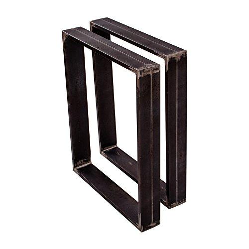 sossai® Design XXL Pied de Table en Profilés d'Acier TKK3 | 2 pièces | couleur acier brut | Largeur 60 cm x hauteur 72 cm | style industriel