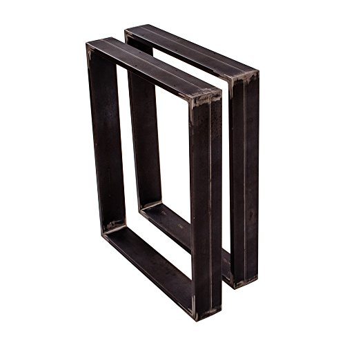 Sossai Stahl Tischgestell Tischkufen Tischbeine XXL | TKK3 | Optik: Rohstahl | 2 Stück | Breite 70 cm x Höhe 72 cm | Material: Stahl