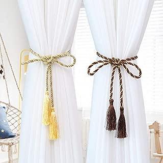 Wilk 1pc Color del Arco Iris Multicolor de la Correa Tejidas a Mano cordón Pinza la Cuerda con Borla Exquisita decoración Atar Inicio Amarillo Accesorios para Cortinas