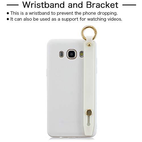 FNBK Kompatibel mit Samsung Galaxy J5 2016/J510 Hülle Einfarbig Weiches TPU Schutzhülle Teleskophalterung Handycase Handschlaufe Ultradünn Hülle Stoßfest Handyhülle Weiß