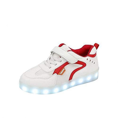Kinder LED Shell Schuhe Mode Blinkende Turnschuhe USB Aufladen Schuhe LED leuchtet Turnschuhe 7 Farbe USB Aufladen LED Leuchtend Sportschuhe Laufschuhe für Kinder Jungen Mädchen,Rot,34