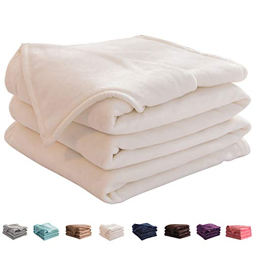 "LIANLAM King Size Fleece Blanket Lightweight Super Soft and All Season Warm Fuzzy Plush Cozy Luxury Bed Blankets Microfiber (White, 104""x90"")"