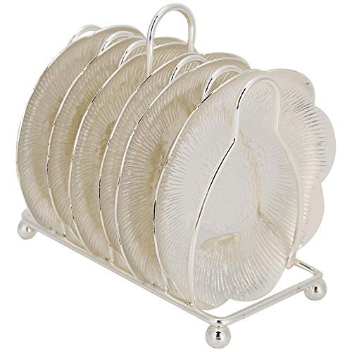 Sottobicchiere in metallo retrò, sottobicchieri con isolamento termico per bevande Piatto in stile europeo per la decorazione del ristorante domestico(Argento)