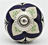 Pomos para puerta para armarios vintage Shabby Chic de cerámica para interiores, cajón/tirador de puerta para baño/cocina (4 Set-1)