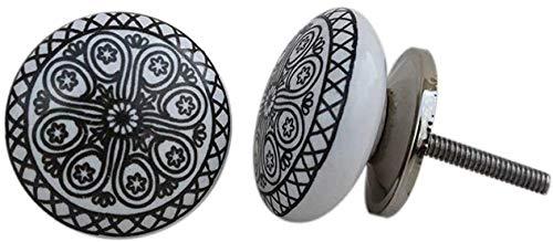 12 pomos de cerámica pintados a mano para cajones y cajones de estilo vintage con diseño de flores, pomos de cerámica para puerta y cajón, color negro
