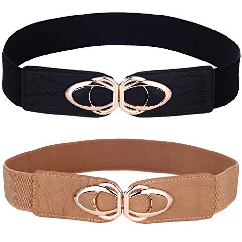 Beltox Womens Belts Elastic Stretch Cinch Plus Fashion Dress Belts for ladies(26'-43',Black and Khaki 2 Pack)