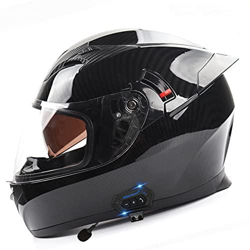 ZLYJ Casco Bluetooth Integrado para Motocicleta, Antiniebla, Visera Doble, Casco Integral para Motocicleta con Auricular Bluetooth, Casco Modular, Certificado ECE G,L(58-60cm)