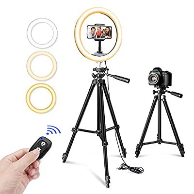 """10"""" Selfie Ring Light with Tripod Stand & Phone Holder for Makeup and YouTube Live Streaming, Torjim Dimmable LED Camera Beauty Ringlight Lamp with 3 Light Modes & 11 Brightness Levels from Torjim"""