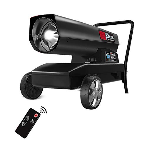 MZBZYU Calefactor Industrial Temperatura Constante Calentador De Iésel con Manómetro Visual Y Pulsador IPX4 Termoventilador De Exteriores Apagado Retrasado De 2 Minutos Temporizador 24 H,45KW
