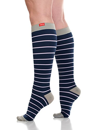 VIM & VIGR Nylon 15-20 mmHg Compression Socks for Women and Men (Blue/Lavender Nautical Stripes, Medium/Large Wide Calf)