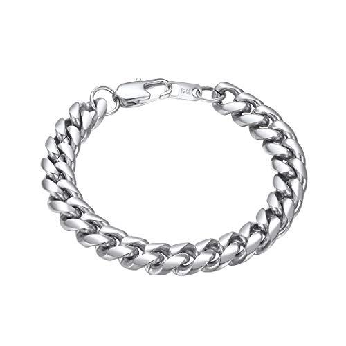 Richsteel 19cm Pulsera Platina Hombre 10mm Pulsera Cadenas Cubana Acero Inoxidable Chain Bracelet