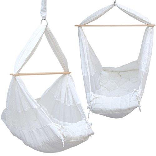 DuneDesign Culla Sospesa 70x36x94cm amaca per neonato dondolo appeso bebè Bianco