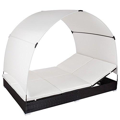 TecTake Aluminium Chaise longue bain de soleil meuble de jardin en résine tressée 2 places transat avec parasol - diverses...
