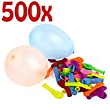 Belmalia 500x Wasser-Bomben Mega-Pack Bunte Neon Wasserballons Rot Gelb Lila