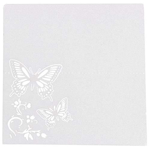 Naliovker 60x Schmetterling Blume Platz Tisch Nummern G?steliege Namens Karten FüR Hochzeit Party Dekoration (Elfenbein)