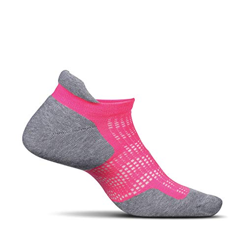 Feetures - High Performance Cushion - No Show Tab - Athletic Running Socks for Men and Women - Pink Pop - Size Large