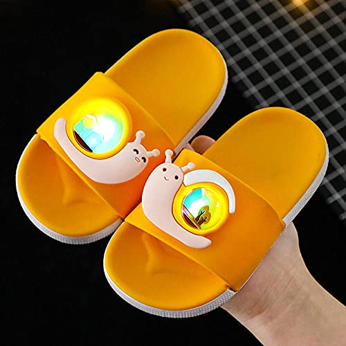 Perferct Mens Boot Slippers,Children'S Luminous Slippers, Cartoon Snails, Cute Boys And Girls, Home Non-Slip Bathroom Bath, Baby Sandals And Slippers-Eu 30-31 (195mm / 7.67')_yellow