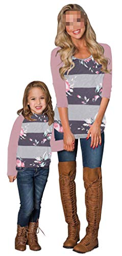 Mommy and Me Floral Print Long Sleeve T Shirt Blouse Tops Mother and Daughter Family Matching...
