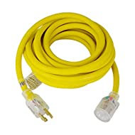 TEMCo 30 ft L14-30 - 30Amp EXTREME Cold Weather Generator Extension Power Cord w/Lighted Plugs SJEOW Insulation Remains Flexible to -58F(-50C) 10 Gauge 4 Prong 125/250V 7500W UL Listed 1 YearWarranty