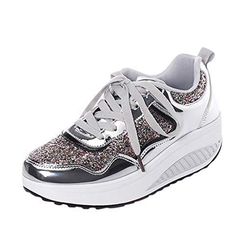 Makalon Damen Sneakers Mode Bling Laufschuhe, Frau Sportschuhe Turnschuhe Freizeitschuhe Fitnessschuhe Leichte Bequem Schuhe Atmungsaktiv Runningschuhe Walkingschuhe