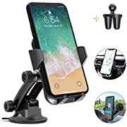 Car Phone Mount, AIKELA Adjustable Cell Phone Holder with Telescopic Arm for Car Air Vent Dashboard Windshield, Washable Sticky Suction Pad Hands-Free Car Cradle Compatible with iPhone Samsung Android