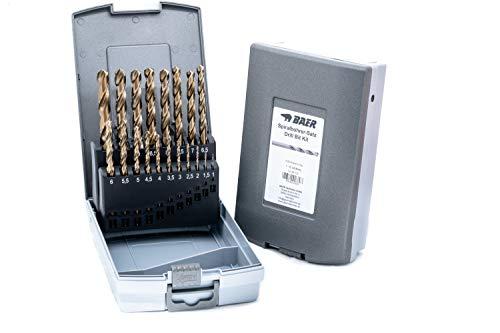 BAER HSSE Extrem-Bohrer Satz (0,5mm steigend) 1-10 mm | Spiralbohrer-Satz aus hochlegiertem HSSE/Cobalt Stahl | Bohrer-Set | Spiralbohrer Set