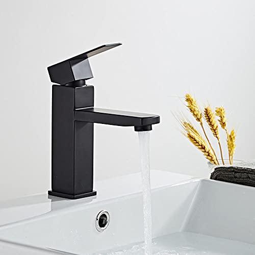 1 unidad, grifo de lavabo de baño, aleación de zinc, moda, fondo de cobre negro, cuadrado, un solo orificio, pintura para hornear, grifos de fregadero caliente frío para baño