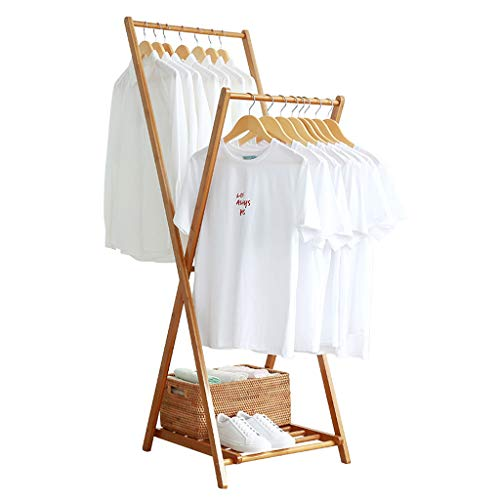 Nevy Garderobenständer, Faltbarer Kleiderbügel Bambus- Trockengestell Multifunktions-Haushaltsbekleidung-Lagerregal Indoor/Outdoor (Farbe : 90X55X150CM)