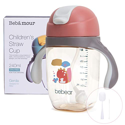 Bebamour Sippy Cup for Baby 6-36 Months Spill-Proof Sippy Cup with Straw for Kids Water Bottle with Soft Silicon Spout Cup for Toddlers, BPA Free, 240ml (Orange Dinosaur)