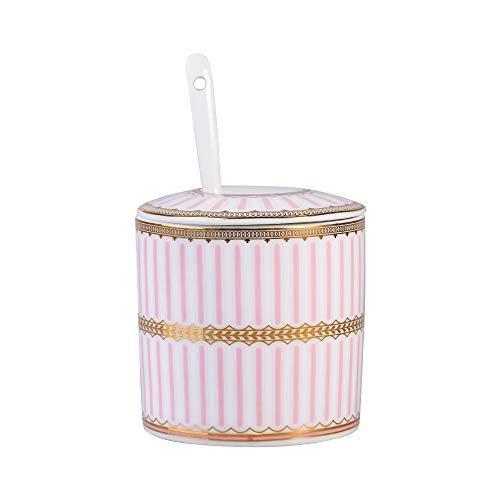 Azucarero dispensador de salero de cerámica con tapa y cuchara para el hogar y la cocina Rayas rosas.