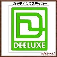 【枠ロゴ】DEELUXE ディーラックス カッティングステッカー (ライム, 縦15x横13cm 1枚)