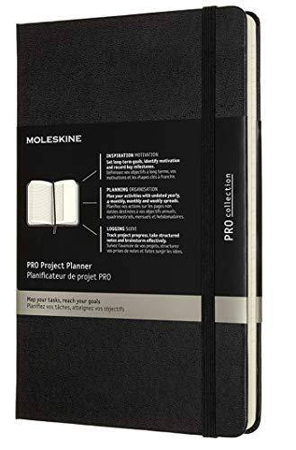 Moleskine - Pro Projektplaner und Notizbuch, Professioneller Terminkalender, Produktivität für Projekte und Projektmanagement, Hardcover, Format 13 x 21 cm, Farbe schwarz, 288 Seiten