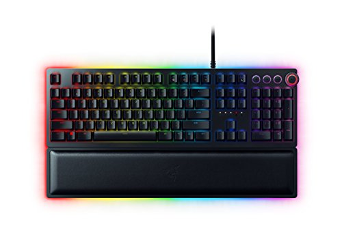 Razer Huntsman Elite Gaming Keyboard: Fastest Keyboard Switches Ever - Clicky Optical Switches - Chroma RGB Lighting - Magnetic Plush Wrist Rest - Dedicated Media Keys & Dial - Classic Black (Electronics)