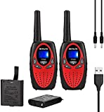 Retevis RT628 Walkie Talkies Rechargeable with Li-ion Batteries and Charging Cable,22 Channels VOX,Toys for 3-14 Years Old Boys Girls ,for Outside Adventure(Red, 2 Pack)