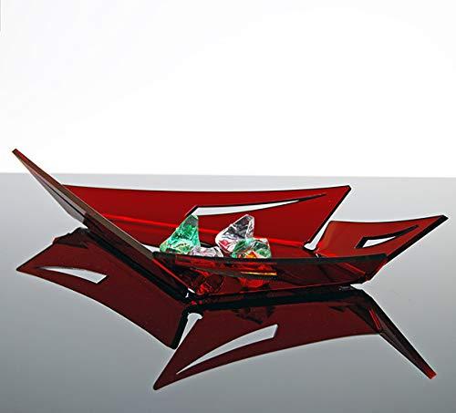 Slato Ciotola centrotavola vuotatasche Decorativo Design Moderno in plexiglass Lilia Piccolo (28 × 17 × h 4.5 cm) - Colore Rosso