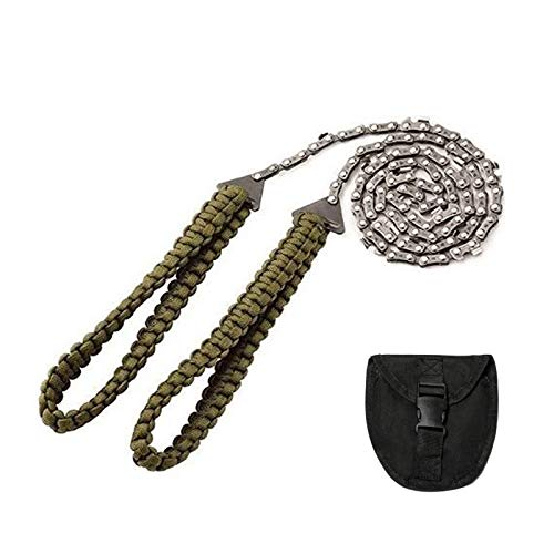 Lixada Pocket Chainsaw with Paracord Handle 27 Inch 11 Teeth Long Hand Chain Saw Survival Bracelet Kit Chain Rope Portable Hand Saw for Camping Hiking Backpacking Wood Tree Cutting