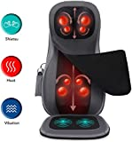 Naipo Shiatsu Neck & Back Massager with Heat, Adjustable Full Back Kneading Shiatsu or Rolling Massage Chair Massage Chair Pad for Neck and Back Hip, Relieve Muscle Pain
