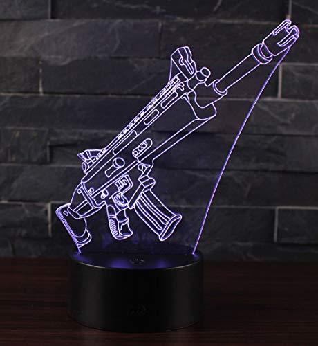 3D Lampe Illusion Optique LED Veilleuse, CKW 7 Couleurs Tactile Lampe de Chevet Chambre Table Art Déco Enfant Lumière de Nuit avec Câble USB Nouveauté De Noël Cadeau d'anniversaire (Pump action)